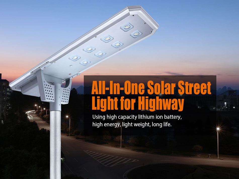High Quality Outdoor Ip65 All In One Battery Power 60w Solar Led Street Light