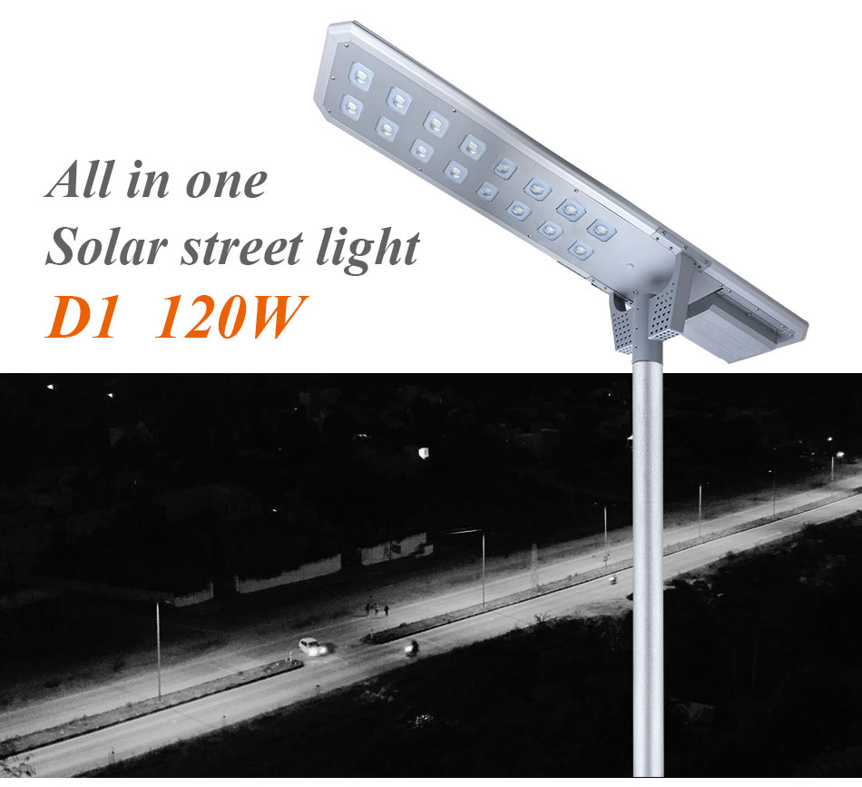 Super Brightness Aluminum Ip65 Waterproof Outdoor 120w All In One Led Solar Street Light