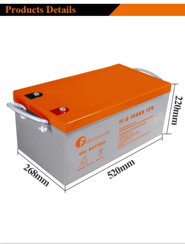 Good Quality Inverter Solar 150Ah 12V Gel Battery